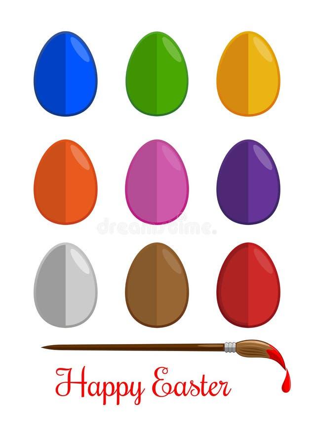 Estilo moderno plano fijado iconos de los huevos de Pascua ilustración del vector