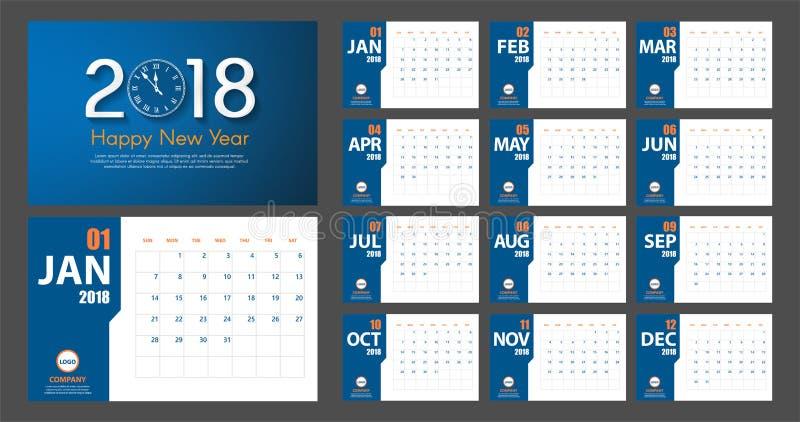 Estilo moderno simples do calendário do ano 2018 novo Azul e laranja Planejador de evento Todo o tamanho ilustração do vetor