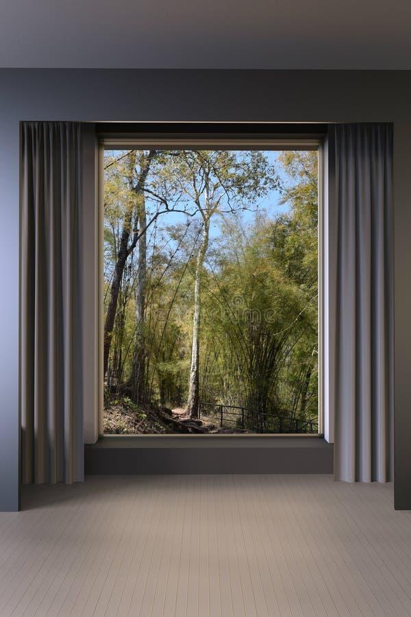 Estilo moderno y ventana de la sala de estar mínima en la opinión de la naturaleza stock de ilustración