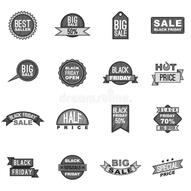 Estilo monocromático gris fijado iconos de la etiqueta de Black Friday stock de ilustración