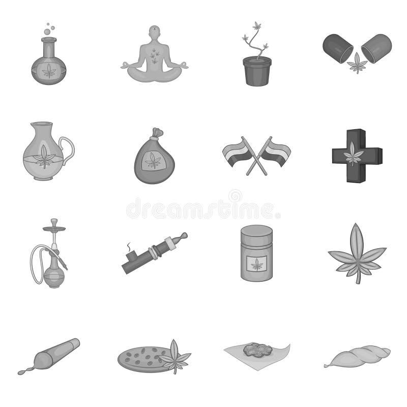 Estilo monocromático preto ajustado da marijuana ícones médicos ilustração stock