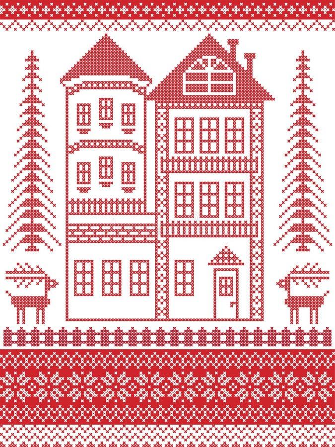 Estilo nórdico e inspirado pela ilustração escandinava do teste padrão do Natal no ponto transversal, casa de pão-de-espécie alta ilustração royalty free