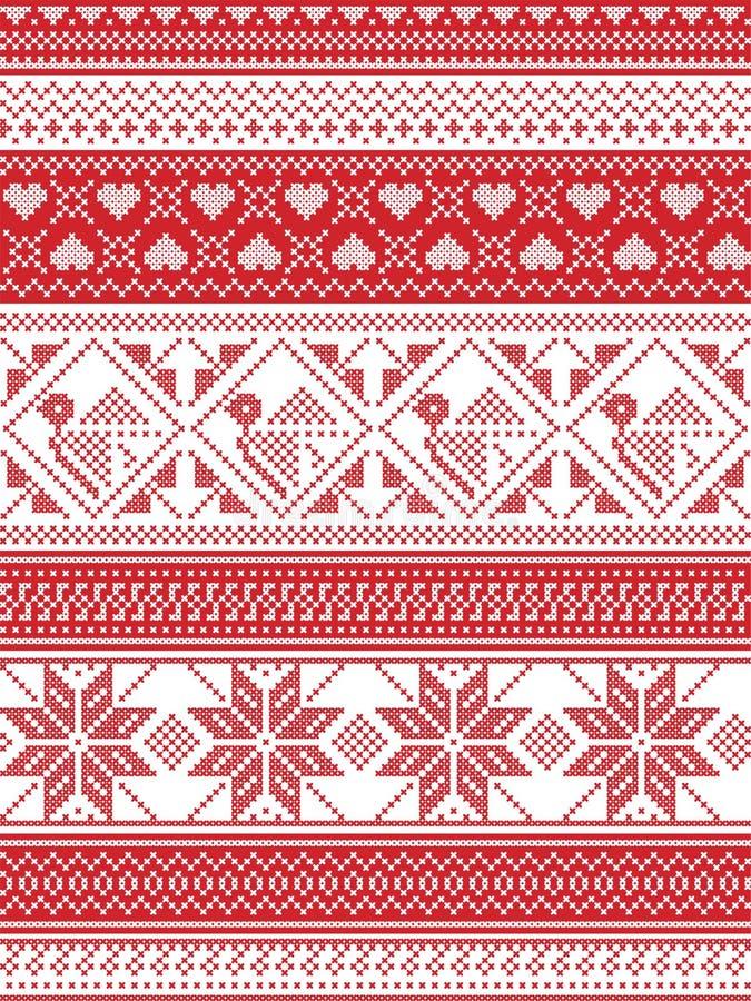 Estilo nórdico e inspirado por el ejemplo escandinavo del modelo de la Navidad en puntada cruzada, en rojo y blanco incluyendo pe stock de ilustración