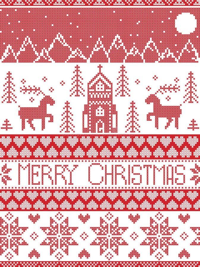 Estilo nórdico e inspirado por el modelo cruzado escandinavo de la Feliz Navidad del arte de la puntada en rojo y blanco incluyen ilustración del vector