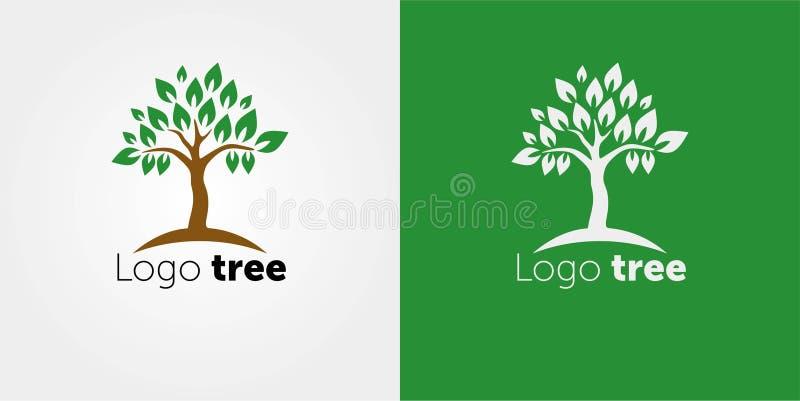 Estilo negativo del espacio de la plantilla del vector del diseño del extracto del logotipo del árbol Ejemplo abstracto del vecto ilustración del vector