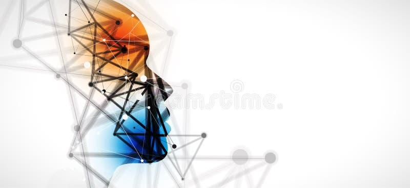 Estilo neuro de la inteligencia artificial Fondo del web de la tecnología Concentrado virtual libre illustration