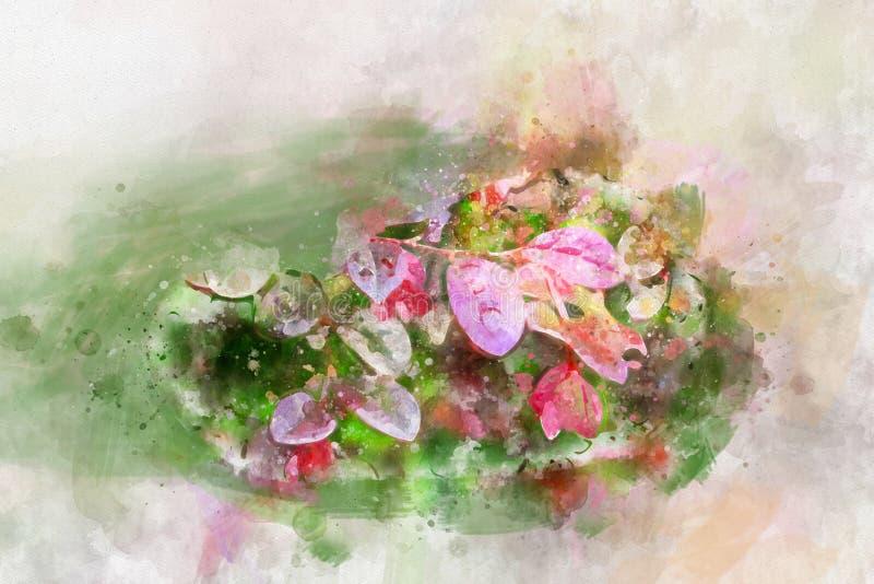 Estilo púrpura del vintage del fondo del diseño del arte del ejemplo del modelo de las hojas de la acuarela ilustración del vector