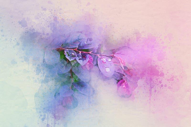 Estilo púrpura del vintage del fondo del diseño del arte del ejemplo del modelo de las hojas de la acuarela libre illustration