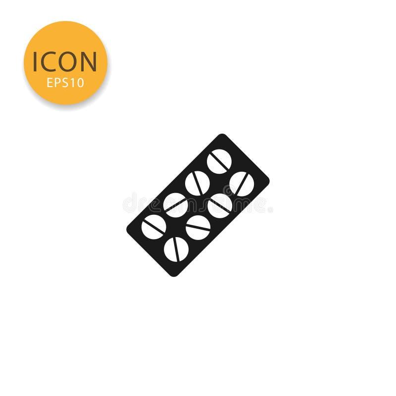 Estilo plano aislado icono de la ampolla de la píldora ilustración del vector