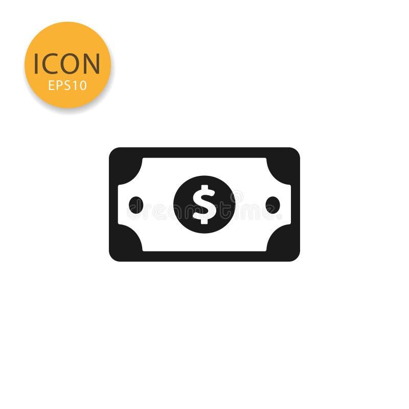 Estilo plano aislado icono del papel del dinero del dólar stock de ilustración
