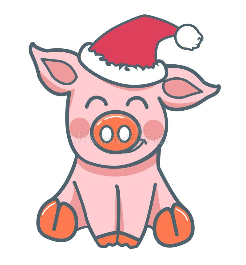 Estilo plano animal del cerdo ilustración del vector
