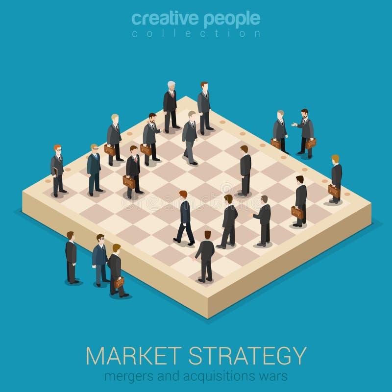Estilo plano 3d de la estrategia corporativa del mercado empresarial isométrico ilustración del vector