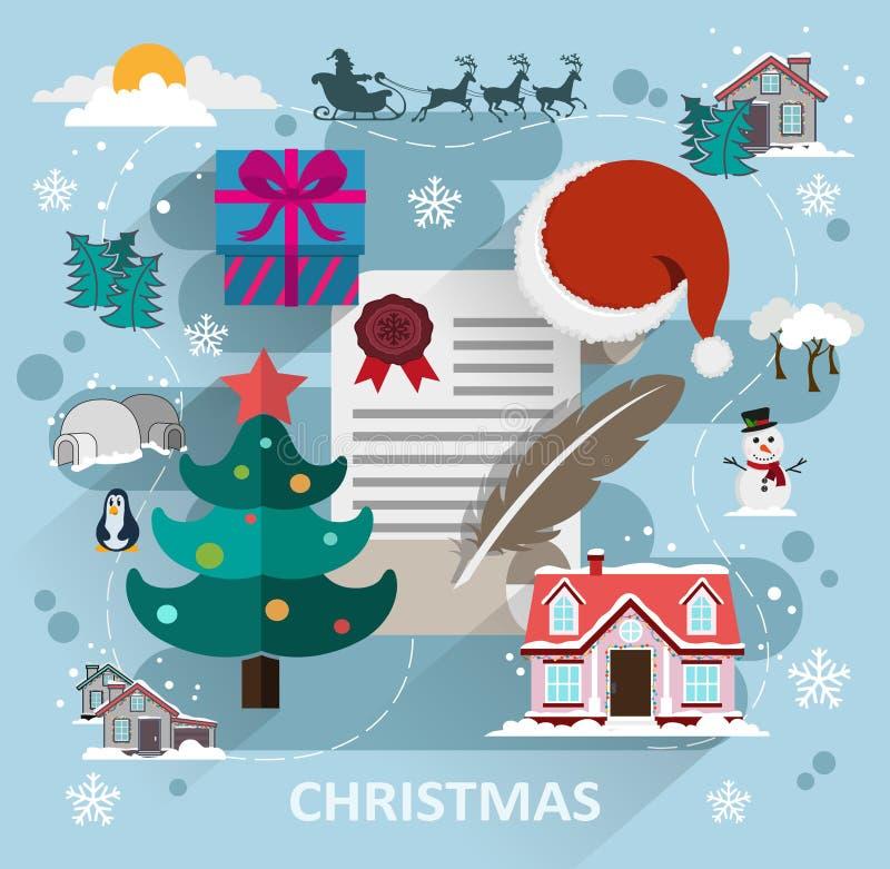 Estilo plano de la escena de la Navidad stock de ilustración