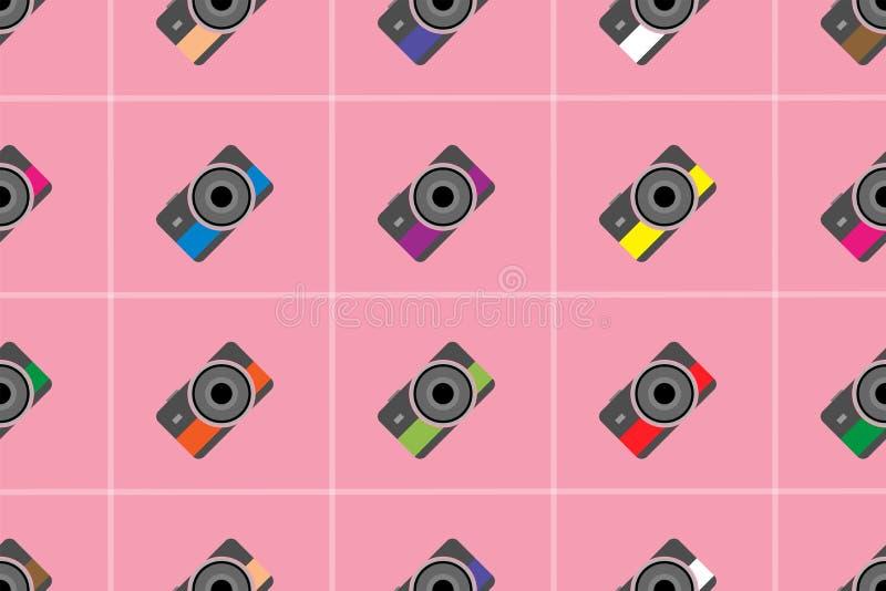 Estilo plano de la foto del modelo inconsútil colorido lindo de la cámara en la máscara rosada del recortes del fondo y del lanza stock de ilustración