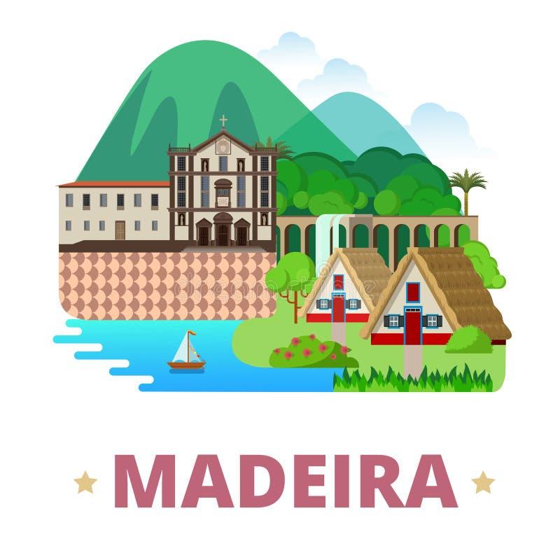 Estilo plano de la historieta de la plantilla del diseño de la isla de Madeira stock de ilustración
