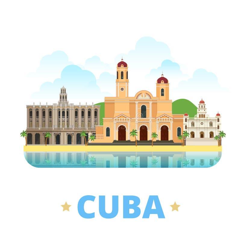 Estilo plano de la historieta de la plantilla del diseño del país de Cuba nosotros libre illustration