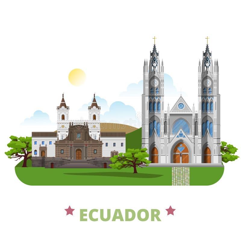 Estilo plano de la historieta de la plantilla del diseño del país de Ecuador stock de ilustración
