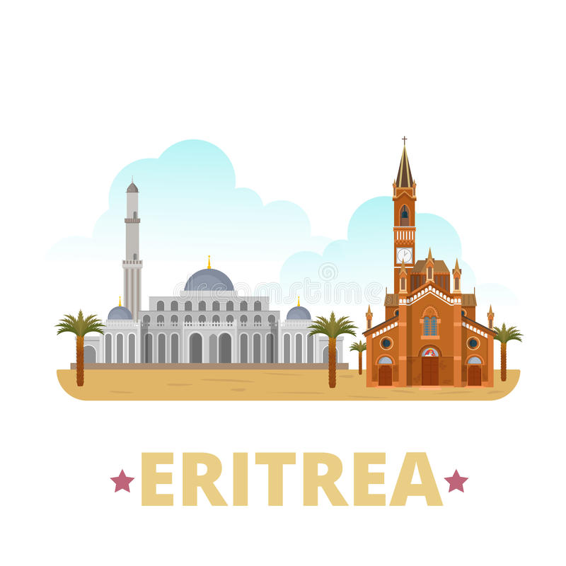 Estilo plano de la historieta de la plantilla del diseño del país de Eritrea libre illustration