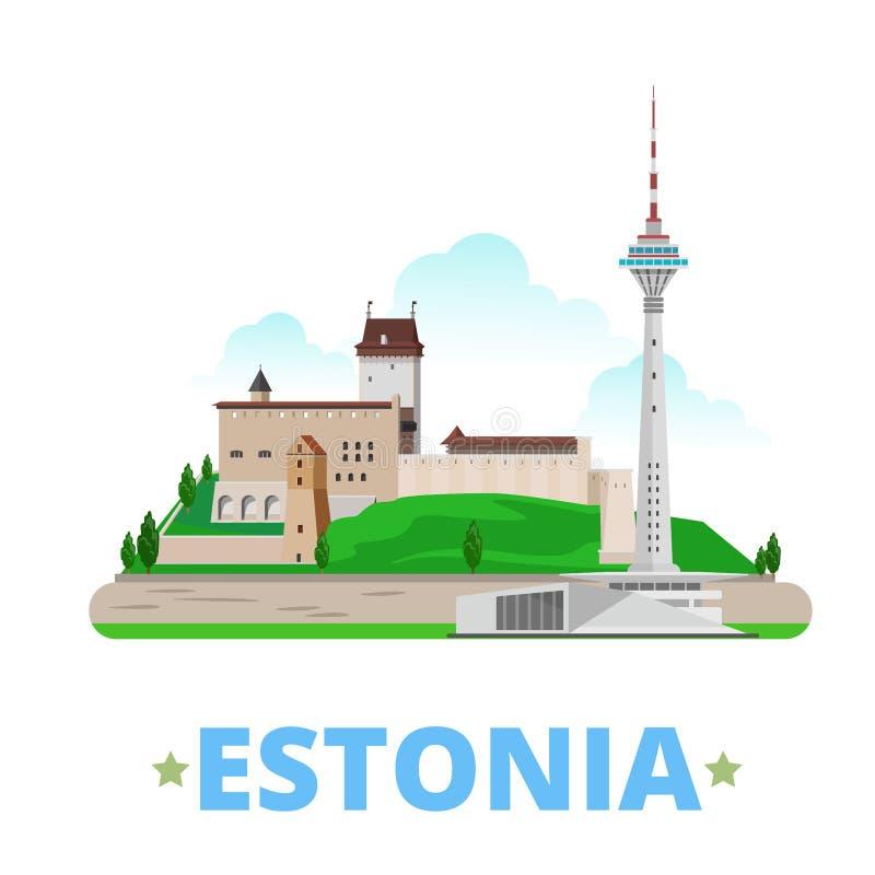 Estilo plano de la historieta de la plantilla del diseño del país de Estonia ilustración del vector