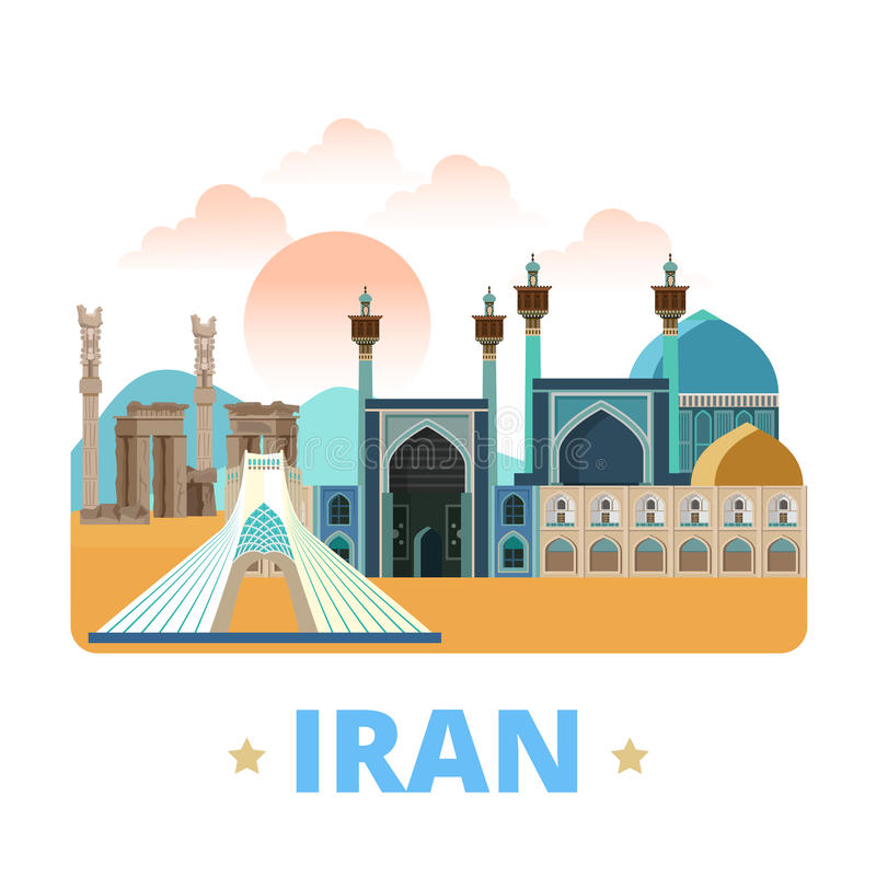 Estilo plano de la historieta de la plantilla del diseño del país de Irán nosotros ilustración del vector