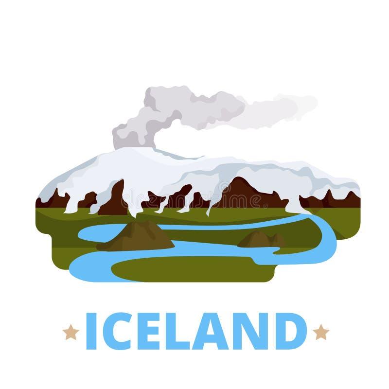 Estilo plano de la historieta de la plantilla del diseño del país de Islandia ilustración del vector