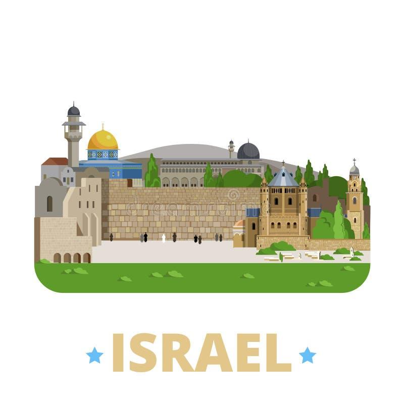 Estilo plano de la historieta de la plantilla del diseño del país de Israel ilustración del vector