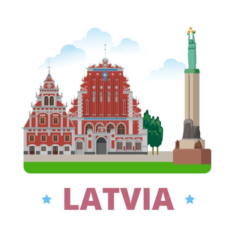 Estilo plano de la historieta de la plantilla del diseño del país de Letonia stock de ilustración