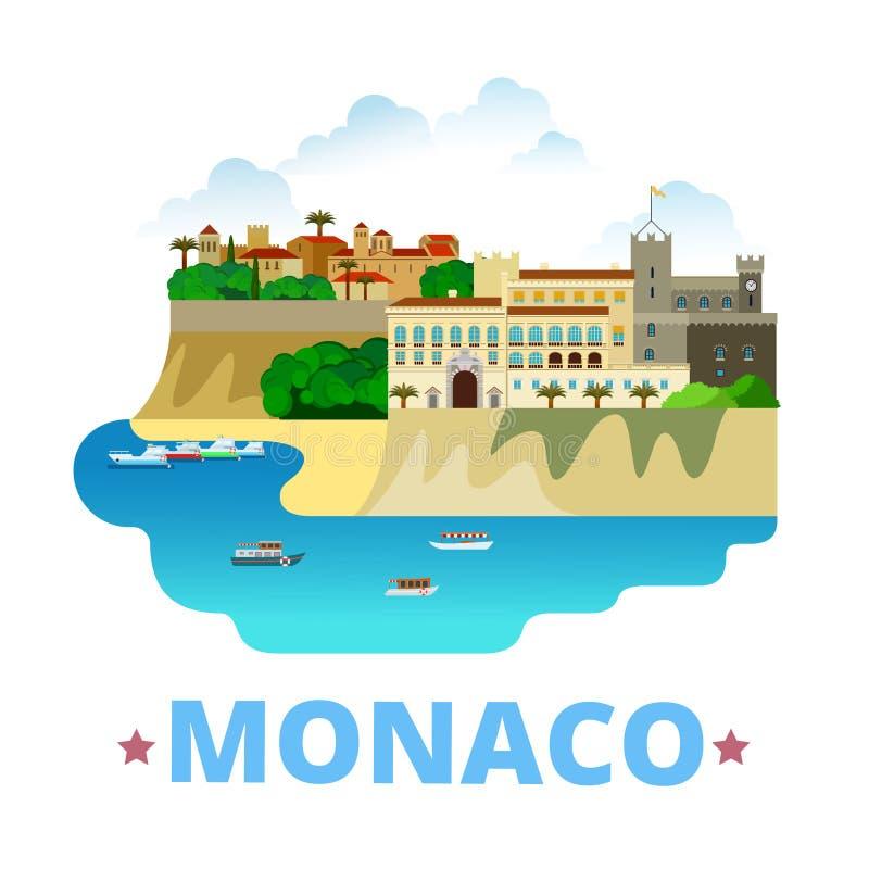 Estilo plano de la historieta de la plantilla del diseño del país de Mónaco stock de ilustración
