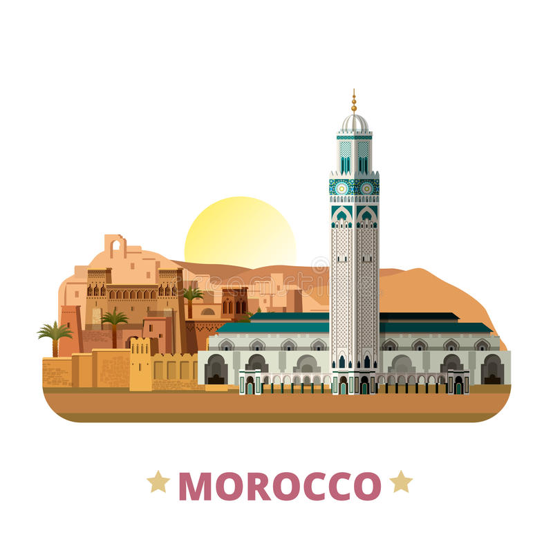 Estilo plano de la historieta de la plantilla del diseño del país de Marruecos stock de ilustración