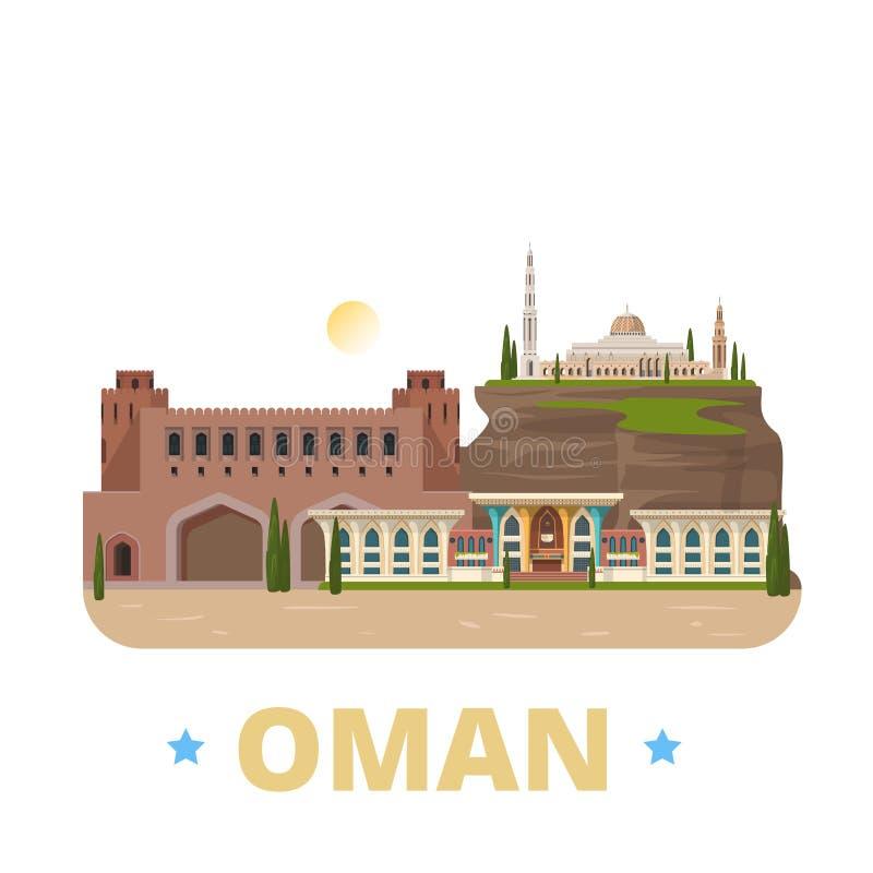 Estilo plano de la historieta de la plantilla del diseño del país de Omán nosotros ilustración del vector
