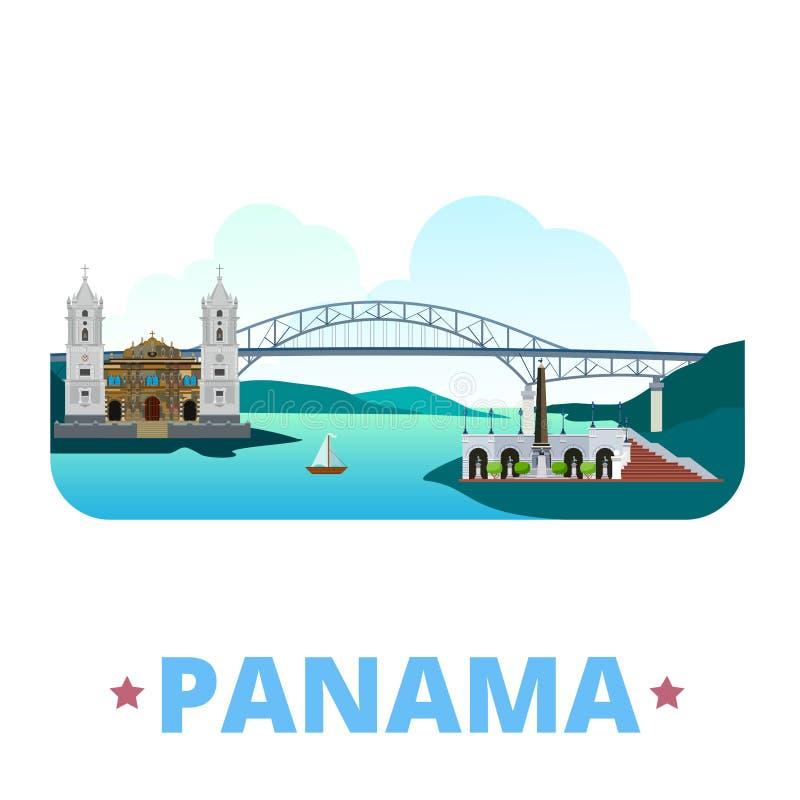 Estilo plano de la historieta de la plantilla del diseño del país de Panamá libre illustration