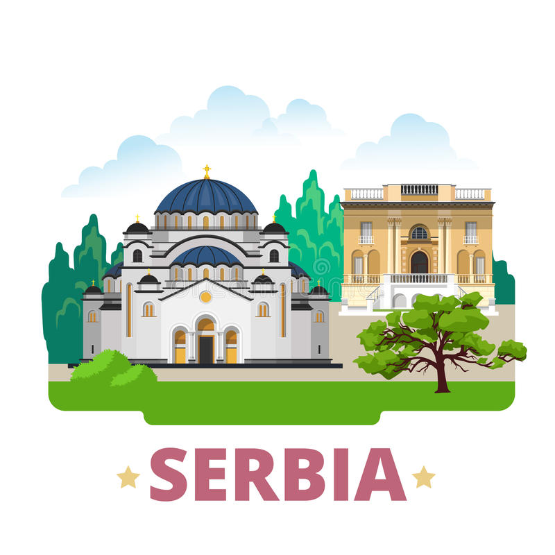 Estilo plano de la historieta de la plantilla del diseño del país de Serbia stock de ilustración