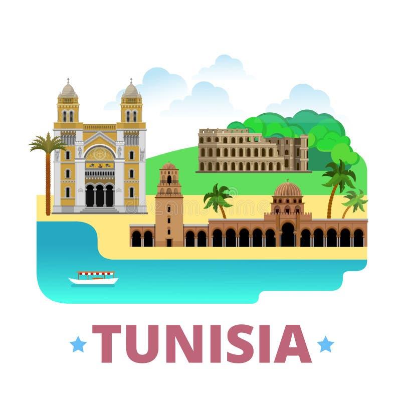 Estilo plano de la historieta de la plantilla del diseño del país de Túnez stock de ilustración