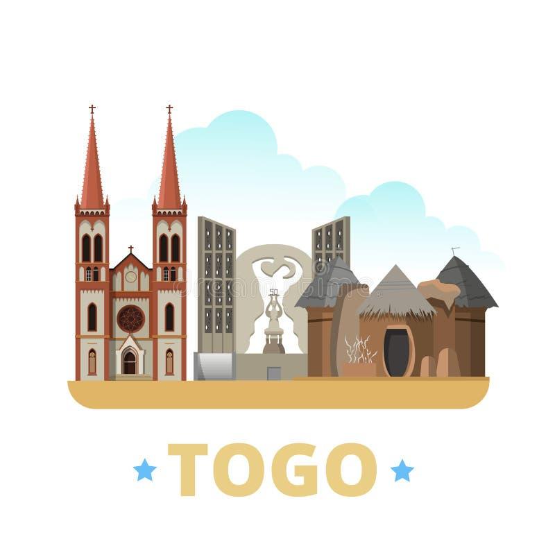 Estilo plano de la historieta de la plantilla del diseño del país de Togo nosotros stock de ilustración