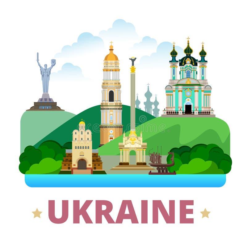 Estilo plano de la historieta de la plantilla del diseño del país de Ucrania ilustración del vector