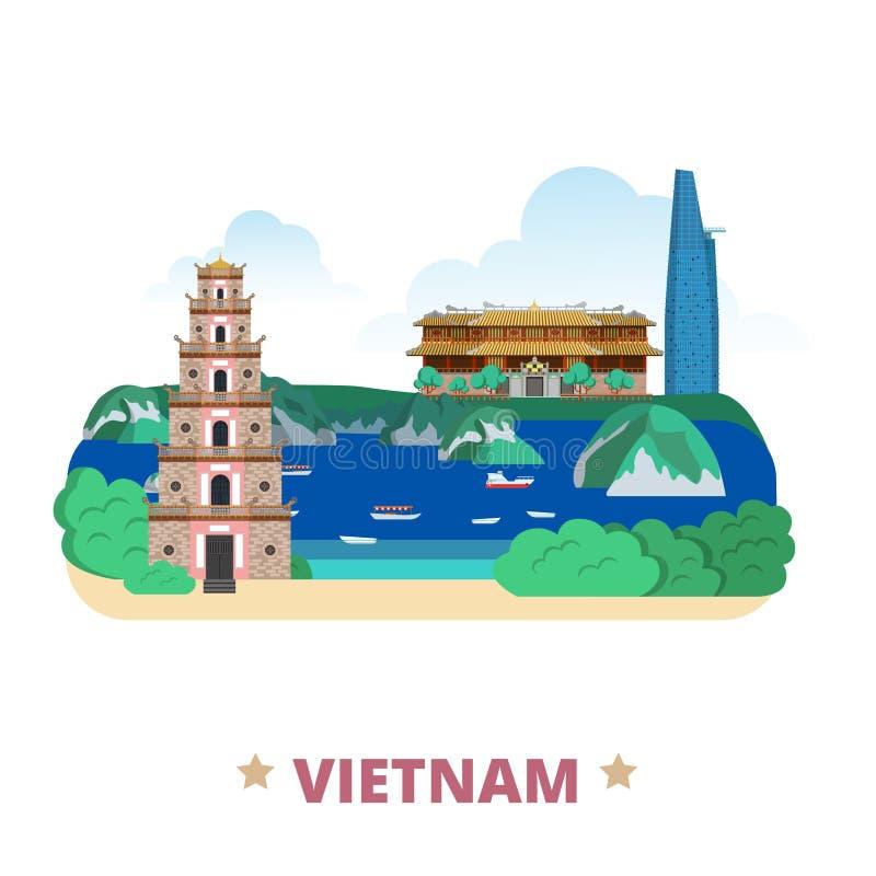Estilo plano de la historieta de la plantilla del diseño del país de Vietnam libre illustration