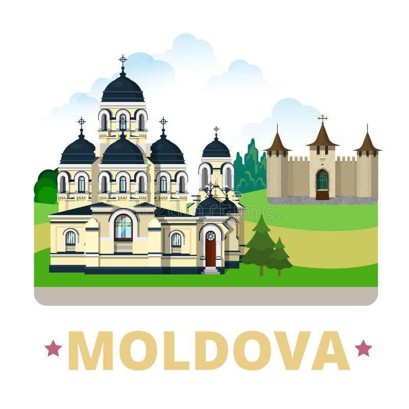 Estilo plano de la historieta de la plantilla del diseño del país del Moldavia stock de ilustración