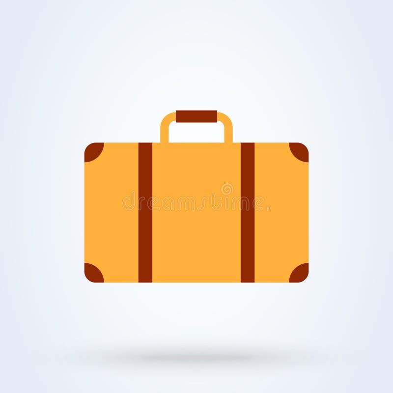 Estilo plano de la maleta Icono del ejemplo del vector aislado en el fondo blanco stock de ilustración