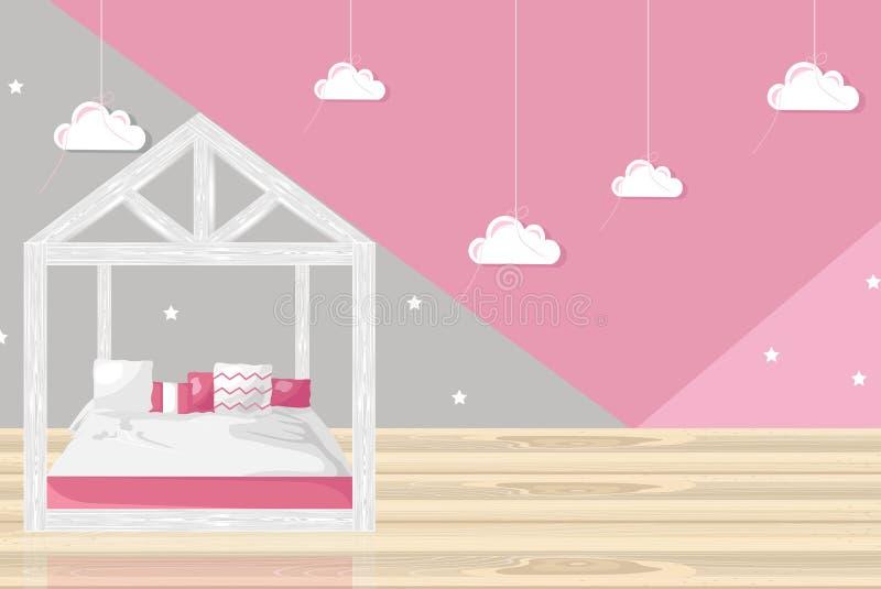 Estilo plano de la muchacha del vector rosado del dormitorio Decoraciones de moda modernas ilustración del vector