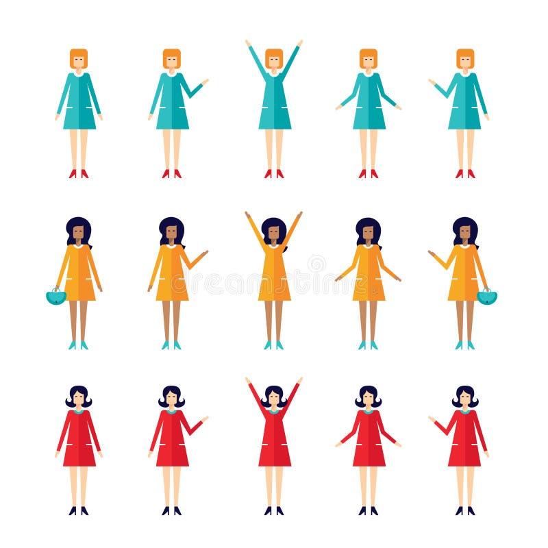 Estilo plano de la mujer 60s de Stylish del ama de casa del juego de caracteres de la historieta del diseño ilustración del vector