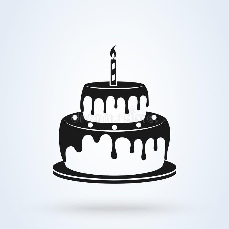 Estilo plano de la torta de cumpleaños Icono aislado en el fondo blanco Ilustraci?n del vector stock de ilustración