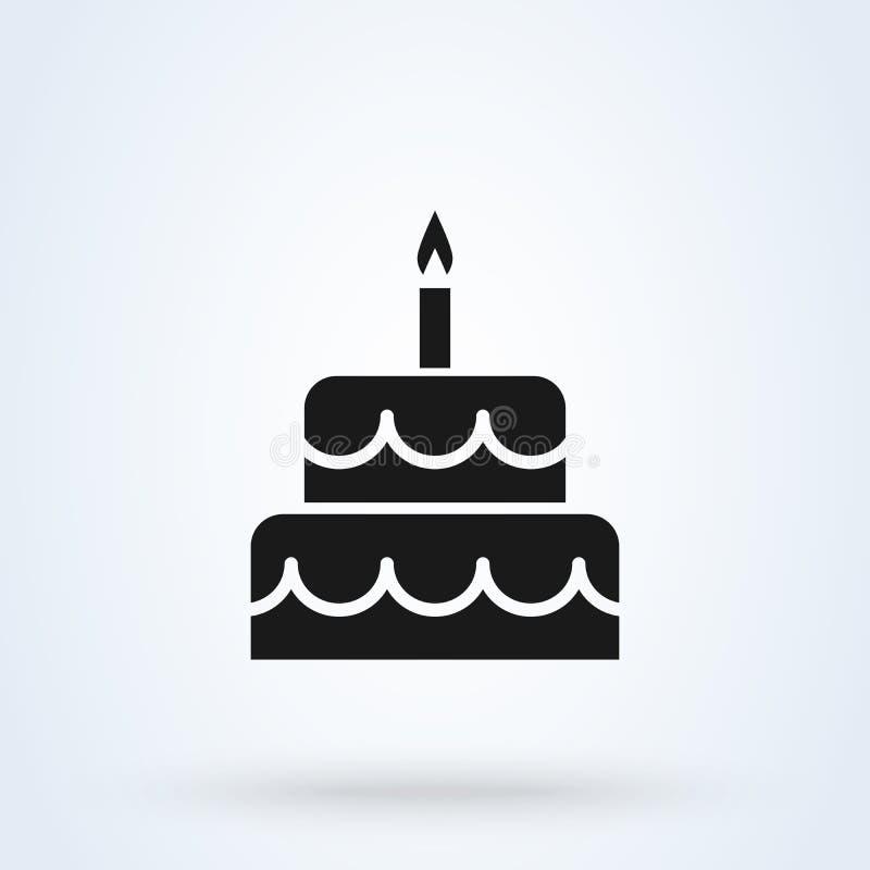 Estilo plano de la torta de cumplea?os Icono aislado en el fondo blanco Ilustraci?n del vector ilustración del vector
