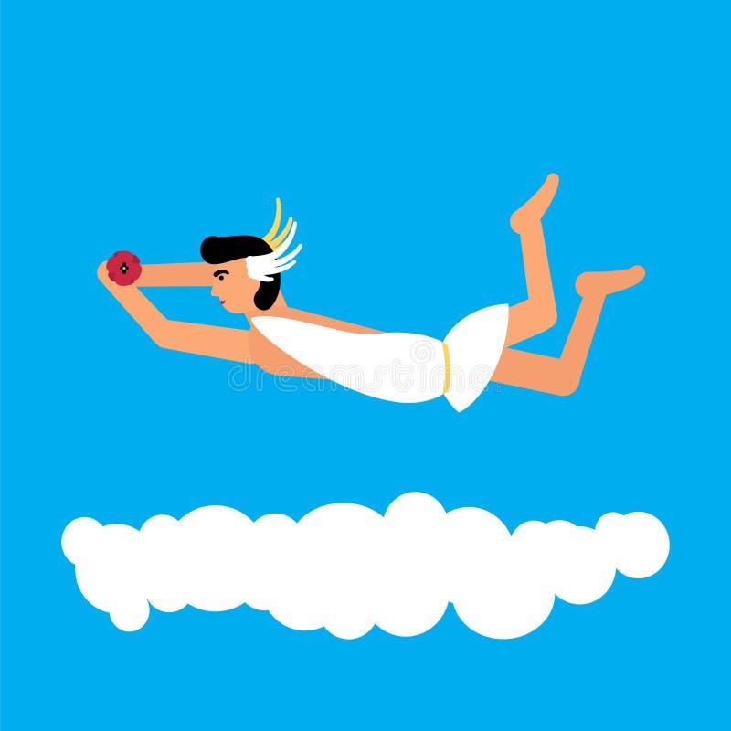 Estilo plano de los hypnos olímpicos de dios stock de ilustración