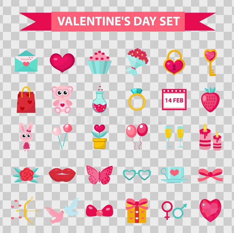 Estilo plano de los iconos del día de tarjetas del día de San Valentín, aislado en fondo transparente Ilustración del vector libre illustration