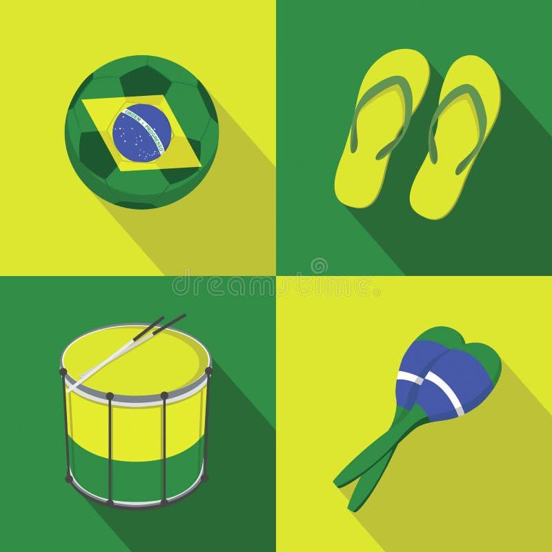Estilo plano de los iconos del fútbol del fútbol del Brasil stock de ilustración