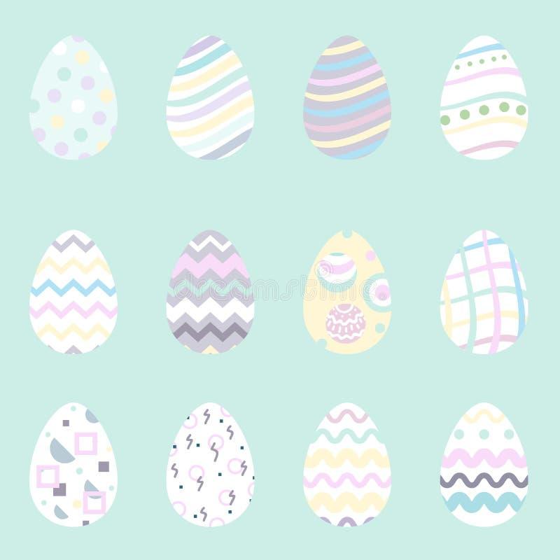 Estilo plano de los iconos de los huevos de Pascua Ilustración del vector ilustración del vector