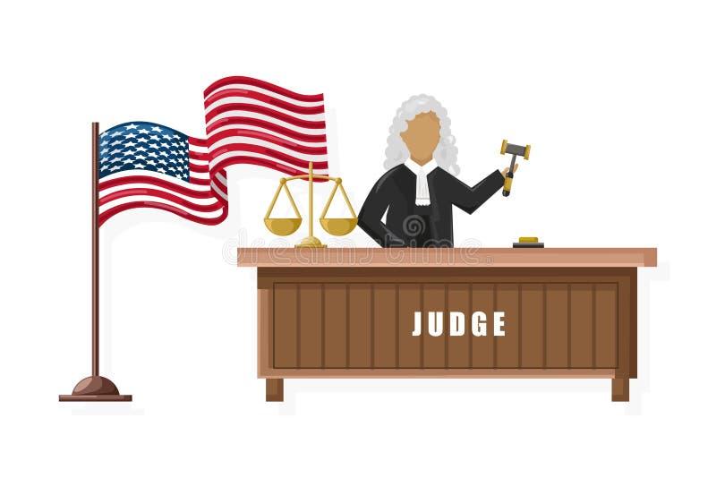 Estilo plano de Vector del juez Conceptos del folleto de la justicia de la bandera americana libre illustration