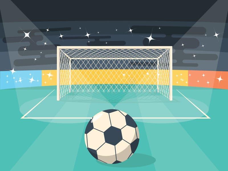 Estilo plano del diseño del campo de fútbol del fútbol de la historieta para la tarjeta del cartel ilustración del vector