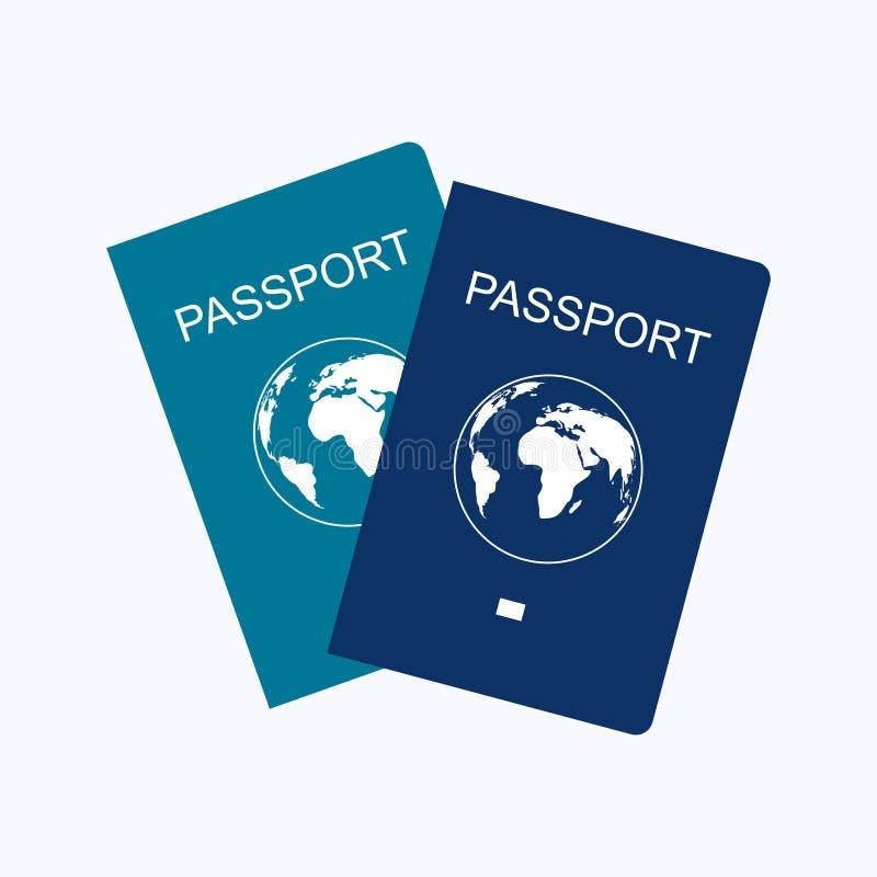Estilo plano del diseño del pasaporte en el fondo blanco stock de ilustración