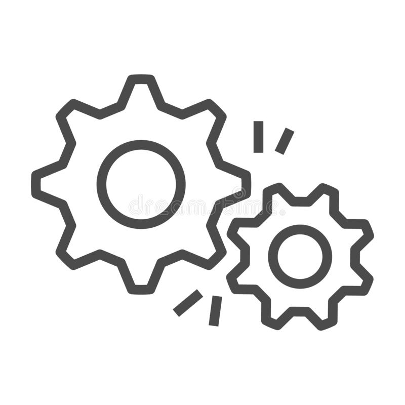Estilo plano del diseño del vector del icono del esquema del engranaje stock de ilustración